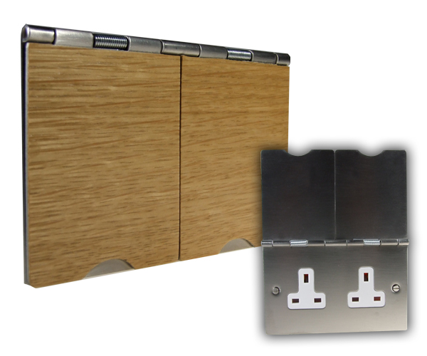 2G 13A Unswitched Floor Socket Light Oak Wood White Trim