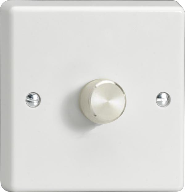 Varilight JQP601A, V-Pro Series 1-Gang 1 or 2-Way Push-On/Off Rotary LED Dimmer 1 x 10-300W (Max 30 LEDs) - Aluminium Dimmer Knob