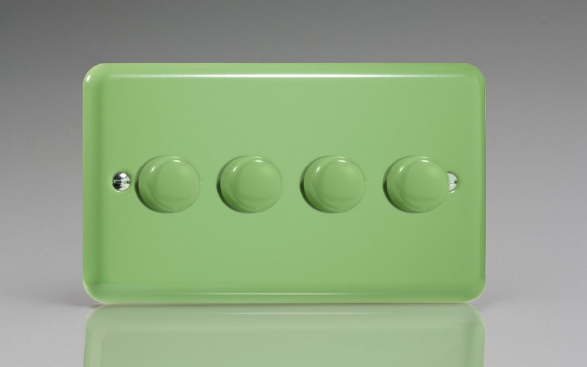 JYDP254.BG Varilight V-Pro Series 4 Gang, 1 or 2 Way Push-On/Off Rotary LED Dimmer 4 x 0-120W (1-10 LEDs) (Twin Plate), Classic Lily Beryl Green