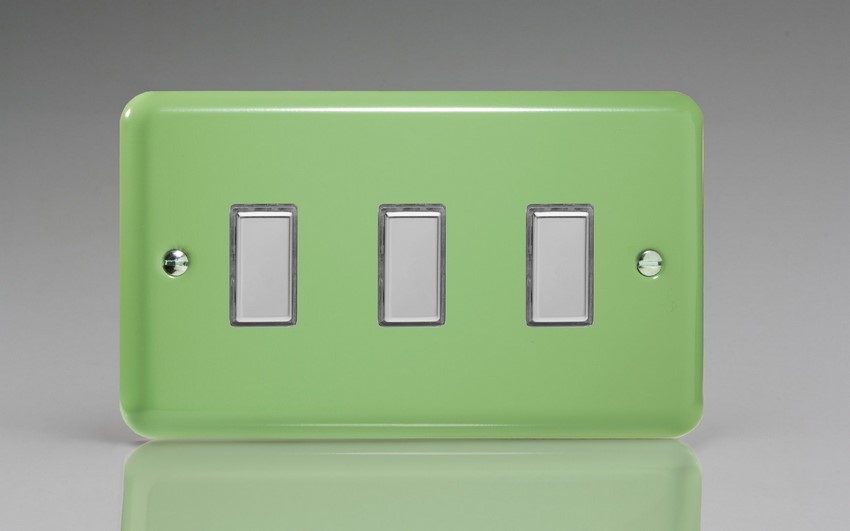 JYES003.BG - Varilight V-Pro Series Eclique2, 3 Gang Tactile Touch Button Slave Unit for 2 way or Multi-way Circuits Only, Classic Lily Beryl Green
