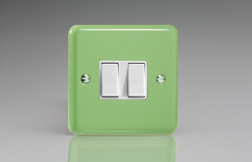 XY2W.BG Varilight 2 Gang (Double), 1 or 2 Way 10 Amp Switch, Classic Lily Beryl Green