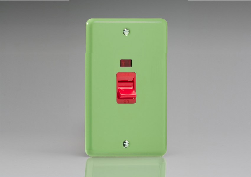 Varilight 45 Amp Double Pole Vertical Cooker Switch with Neon Classic Lily Beryl Green