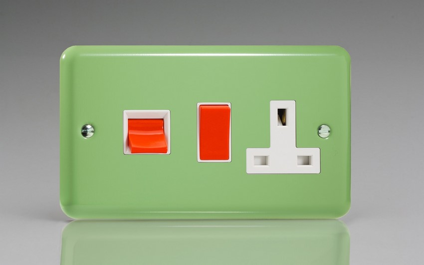 XY45PW.BG Varilight 45 Amp Cooker Panel with 13 Amp Switched Socket (Horizontal Double Size), Classic Lily Beryl Green