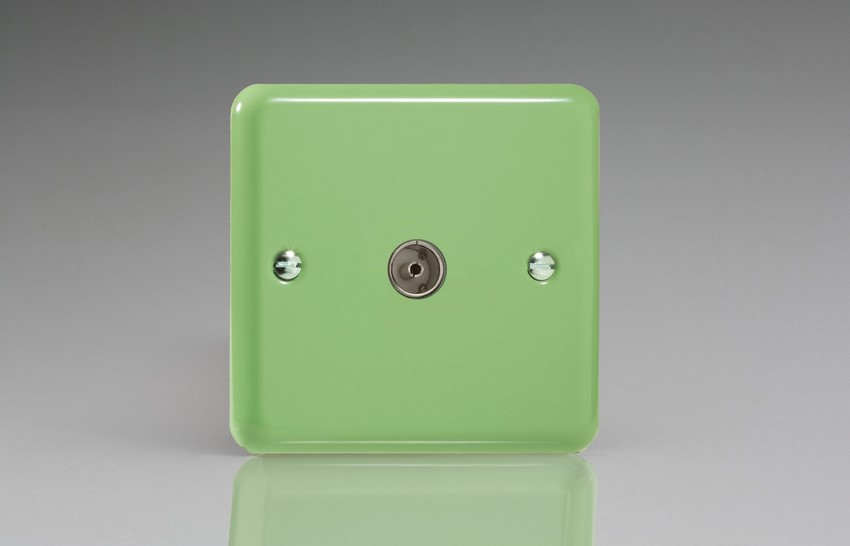 XY8.BG Varilight 1 Gang (Single), Co-axial TV Socket, Classic Lily Beryl Green