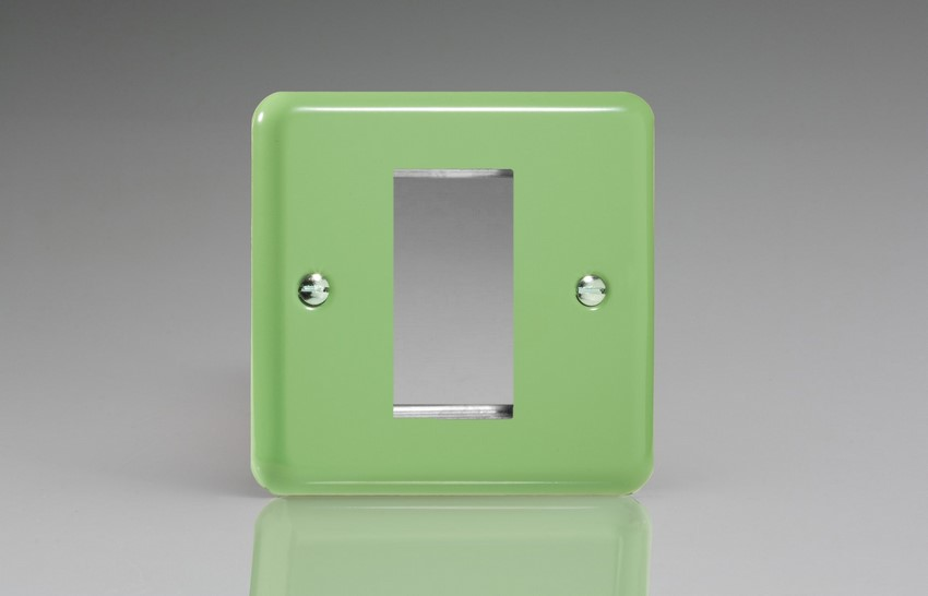 XYG1.BG Varilight Single Size Data Grid Face Plate For 1 Data Module Width, Classic Lily Beryl Green
