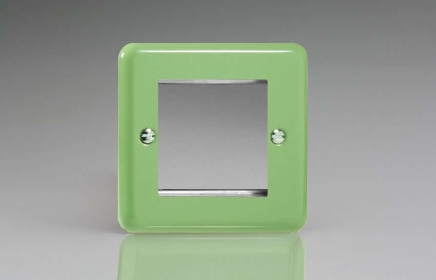 XYG2.BG Varilight Single Size Data Grid Face Plate For 2 Data Modules Width, Classic Lily Beryl Green
