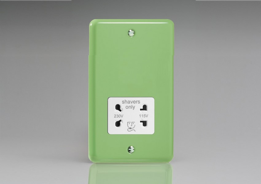 XYSSW.BG Varilight Dual Voltage Shaver Socket, Classic Lily Beryl Green