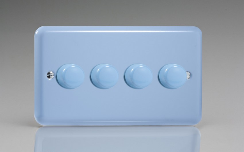 JYDP254.DB Varilight V-Pro Series 4 Gang, 1 or 2 Way,Push-On/Off Rotary LED Dimmer 4 x 0-120W (1-10 LEDs) (Twin Plate), Classic Lily Duck Egg Blue