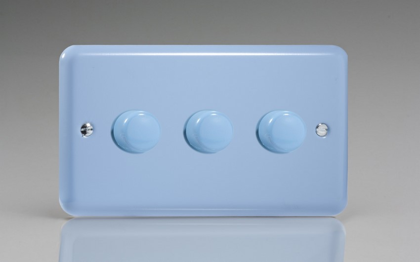 JYDP303.DB Varilight V-Pro Series 3 Gang, 1 or 2 Way, Push-On/Off Rotary LED Dimmer 3 x 0-120W (1-10 LEDs) (Twin Plate), Classic Lily Duck Egg Blue