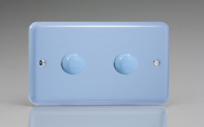 JYDP402.DB Varilight V-Pro Series 2 Gang, 1 or 2 Way,Push-On/Off Rotary LED Dimmer 2 x 0-120W (1-10 LEDs) (Twin Plate), Classic Lily Duck Egg Blue