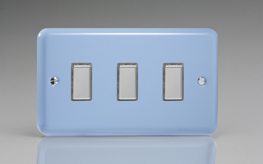 JYES003.DB - Varilight V-Pro Series Eclique2, 3 Gang Tactile Touch Button Slave Unit for 2 way or Multi-way Circuits Only, Classic Lily Duck Egg Blue