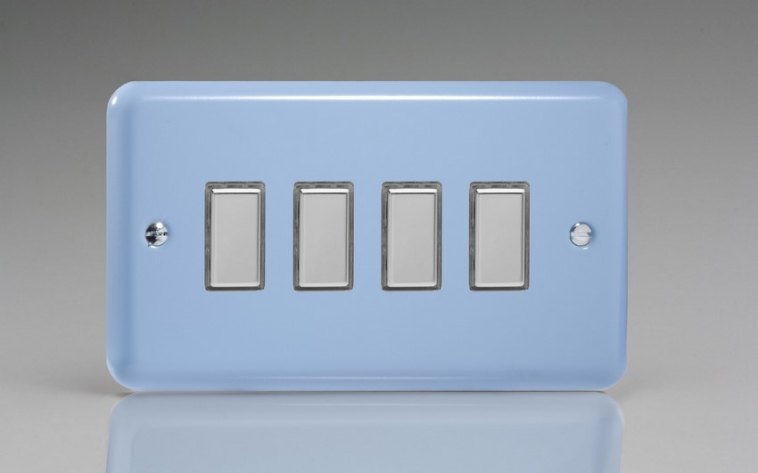 JYES004.DB - Varilight V-Pro Series Eclique2, 4 Gang Tactile Touch Button Slave Unit for 2 way or Multi-way Circuits Only, Classic Lily Duck Egg Blue