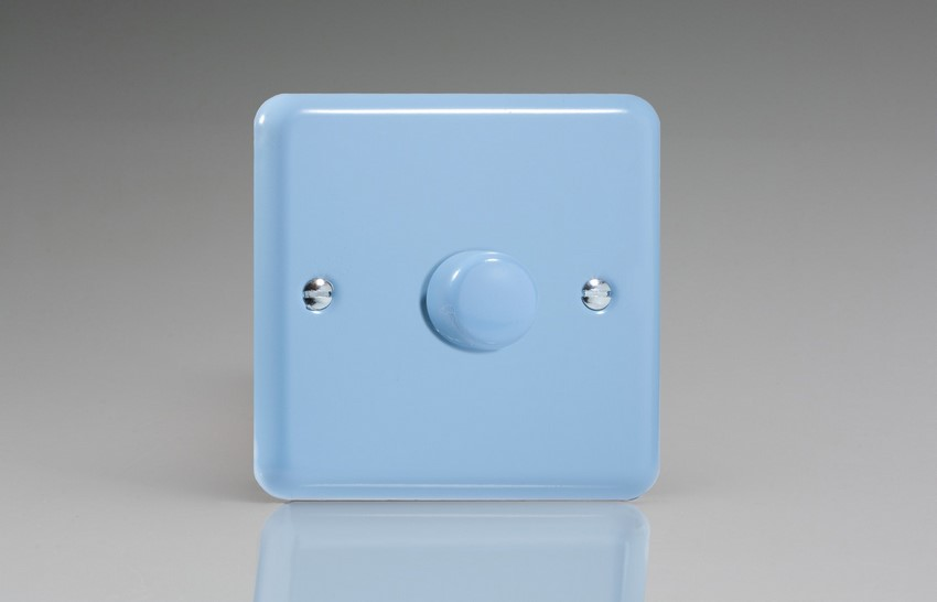 KYP221.DB Varilight V-Com Series 1 Gang, 1 or 2 Way 30-220 Watt Commercial LED Dimmer, Classic Lily Duck Egg Blue