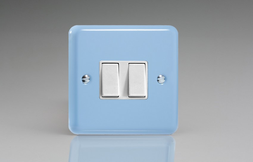 XY2W.DB Varilight 2 Gang (Double), 1 or 2 Way 10 Amp Switch, Classic Lily Duck Egg Blue