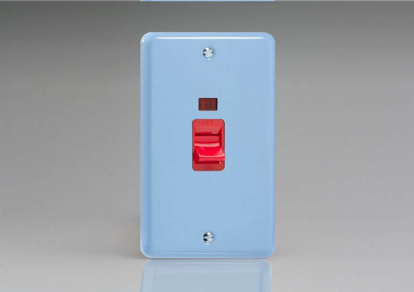 XY45NW.DB Varilight 45 Amp Cooker Switch with Neon (Vertical Double Size), Classic Lily Duck Egg Blue