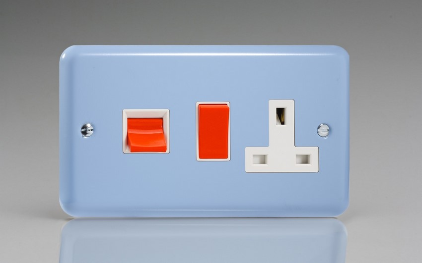 XY45PW.DB Varilight 45 Amp Cooker Panel with 13 Amp Switched Socket (Horizontal Double Size), Classic Lily Duck Egg Blue