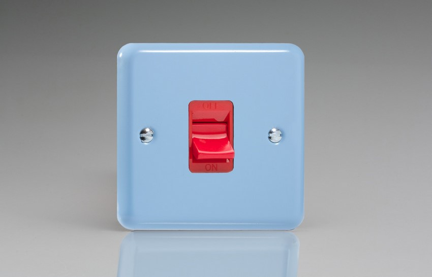 XY45S.DB Varilight 45 Amp Cooker Switch (Single Size), Classic Lily Duck Egg Blue