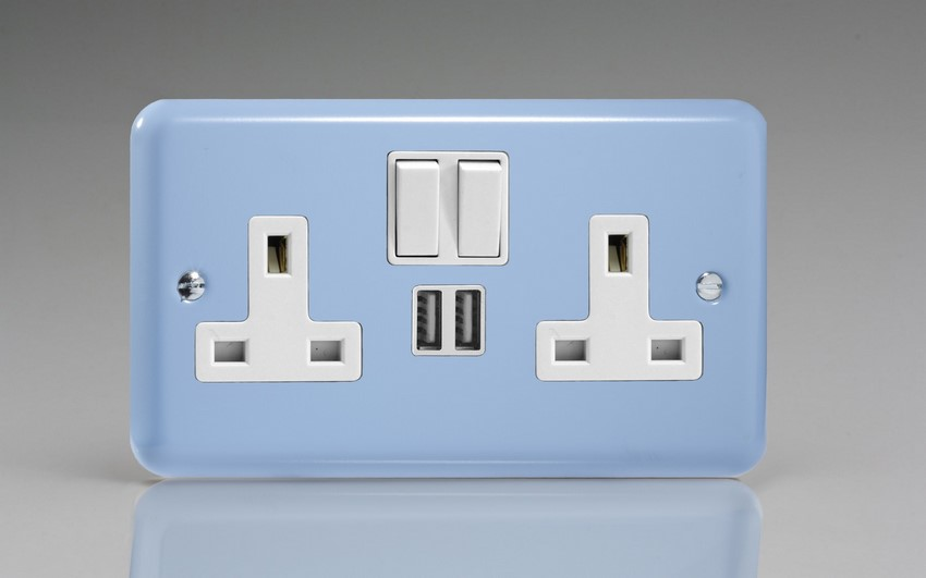 XY5U2SW.DB Varilight 2 Gang 13A Single Pole Switched Socket + 2 x 5V DC 2100mA USB Charging Ports, White Insert & Switches. Classic Lily Duck Egg Blue