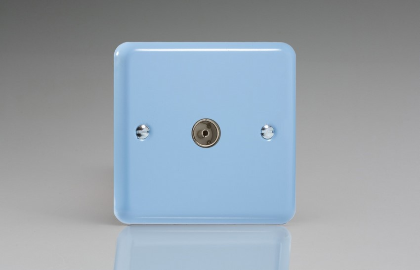 XY8.DB Varilight 1 Gang (Single), Co-axial TV Socket, Classic Lily Duck Egg Blue
