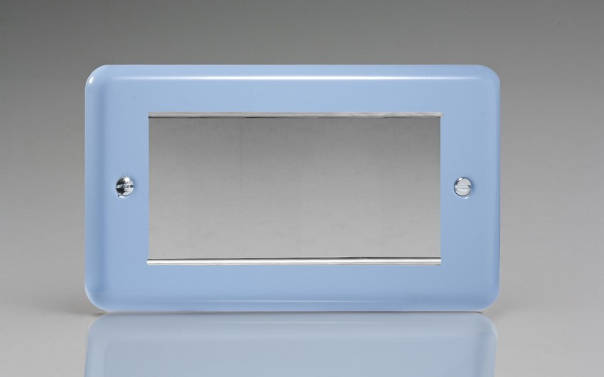 XYG4.DB Varilight Double Size Data Grid Face Plate For 3 or 4 Data Modules Width, Classic Lily Duck Egg Blue