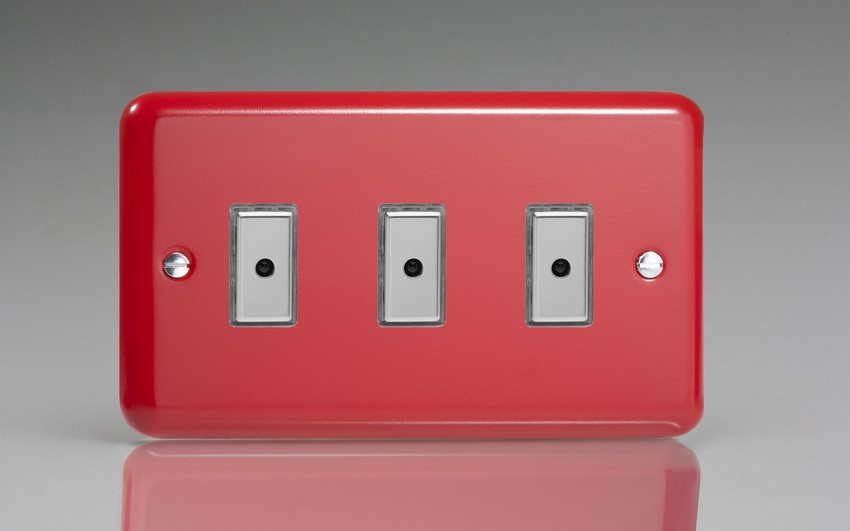 JYE103.PR - Varilight V-Pro Series Eclique2, 3 gang Intelligent Programmable Master Dimmer, with Tactile Touch Button and Integrated Remote Control Sensor 0-100 Watts of LEDs (10 LEDs Max), Classic Lily Pillar Box Red