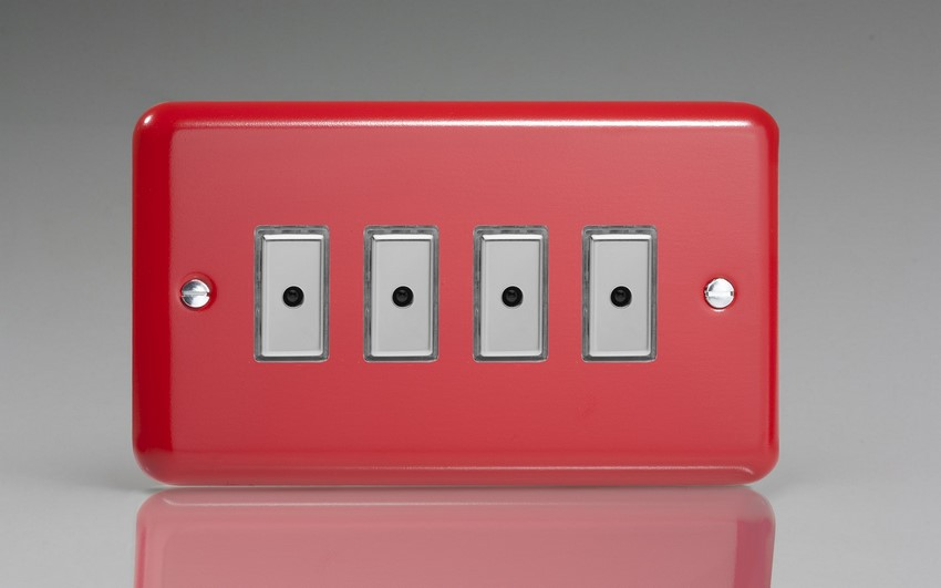 JYE104.PR - Varilight V-Pro Series Eclique2, 4 gang Intelligent Programmable Master Dimmer, with Tactile Touch Button and Integrated Remote Control Sensor 0-100 Watts of LEDs (10 LEDs Max), Classic Lily Pillar Box Red