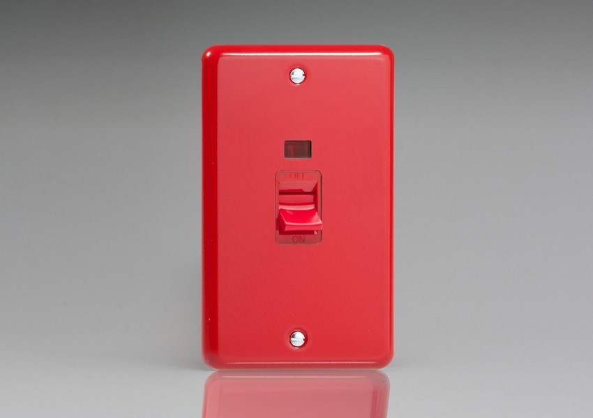XY45NB.PR Varilight 45 Amp Cooker Switch with Neon (Vertical Double Size), Classic Lily Pillar Box Red