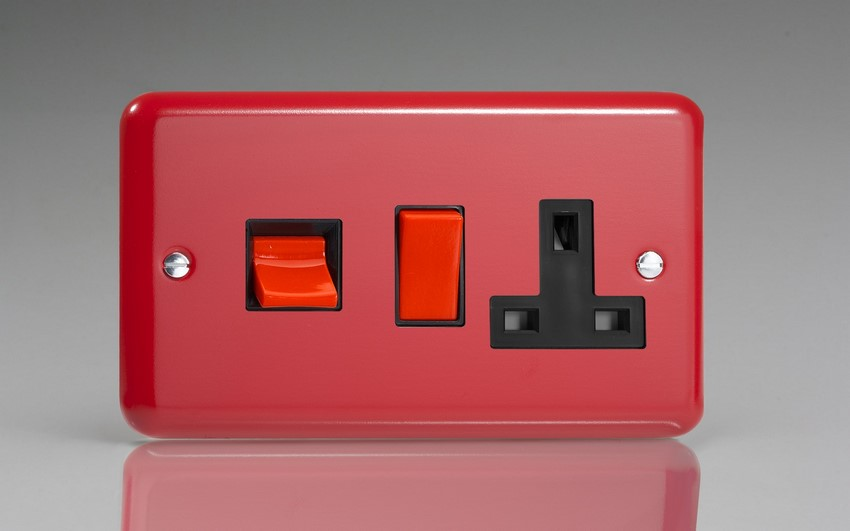 XY45PB.PR Varilight 45 Amp Cooker Panel with 13 Amp Switched Socket (Horizontal Double Size), Classic Lily Pillar Box Red