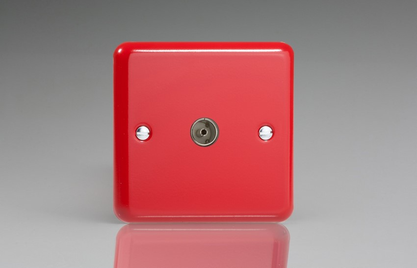 XY8.PR Varilight 1 Gang (Single), Co-axial TV Socket, Classic Lily Pillar Box Red