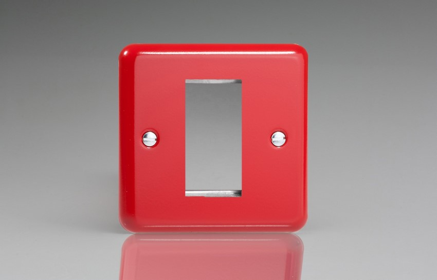 XYG1.PR Varilight Single Size Data Grid Face Plate For 1 Data Module Width, Classic Lily Pillar Box Red