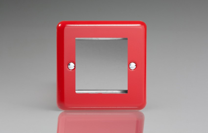 XYG2.PR Varilight Single Size Data Grid Face Plate For 2 Data Modules Width, Classic Lily Pillar Box Red