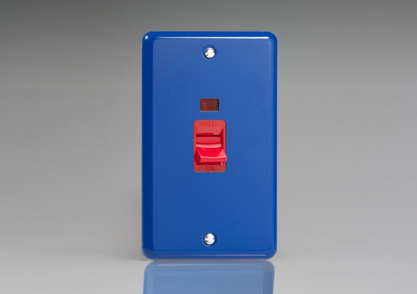 XY45N.RB Varilight 45 Amp Cooker Switch with Neon (Vertical Double Size), Classic Lily Reflex Blue
