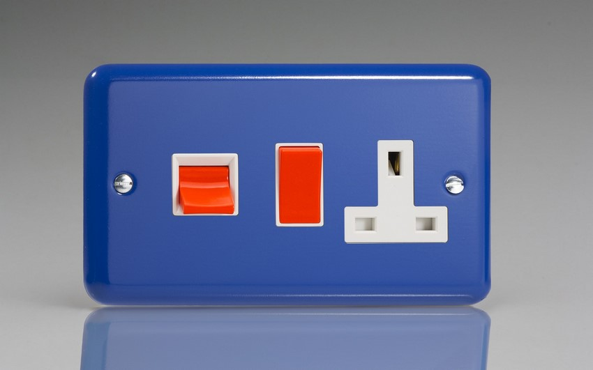 XY45PW.RB Varilight 45 Amp Cooker Panel with 13 Amp Switched Socket (Horizontal Double Size), Classic Lily Reflex Blue