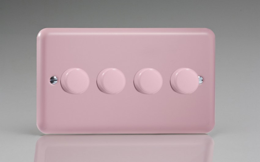 HY44.RP Varilight V-Dim Series 4 Gang, 1 or 2 Way 4 x250 Watt Dimmer, Classic Lily Rose Pink