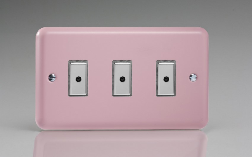 JYE103.RP Varilight V-Pro Series Eclique2, 3 gang Intelligent Programmable Master Dimmer, with Tactile Touch Button and Integrated Remote Control Sensor 0-100 Watts of LEDs (10 LEDs Max), Classic Lily Rose Pink