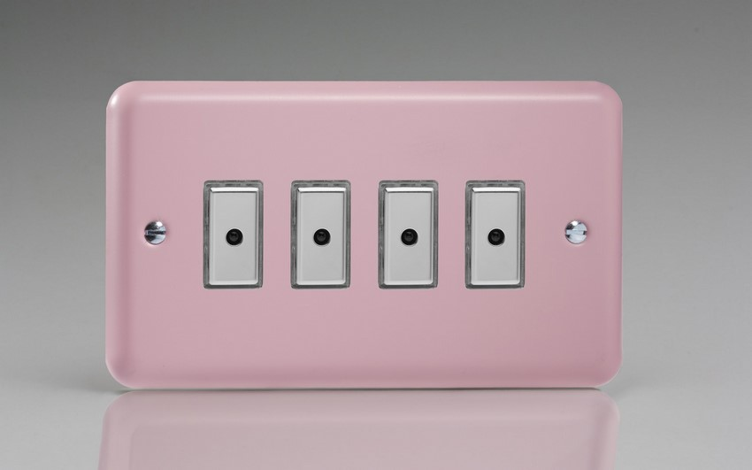 JYE104.RP Varilight V-Pro Series Eclique2, 4 gang Intelligent Programmable Master Dimmer, with Tactile Touch Button and Integrated Remote Control Sensor 0-100 Watts of LEDs (10 LEDs Max), Classic Lily Rose Pink