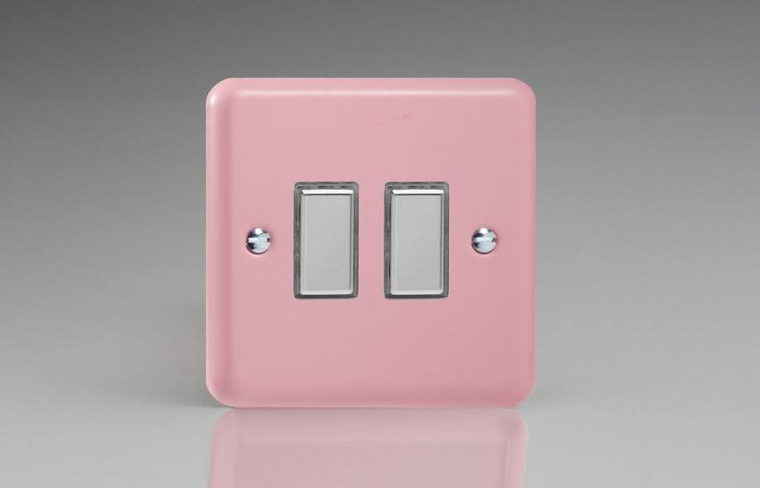 JYES002.RP - Varilight V-Pro Series Eclique2, 2 Gang Tactile Touch Button Slave Unit for 2 way or Multi-way Circuits Only, Classic Lily Rose Pink