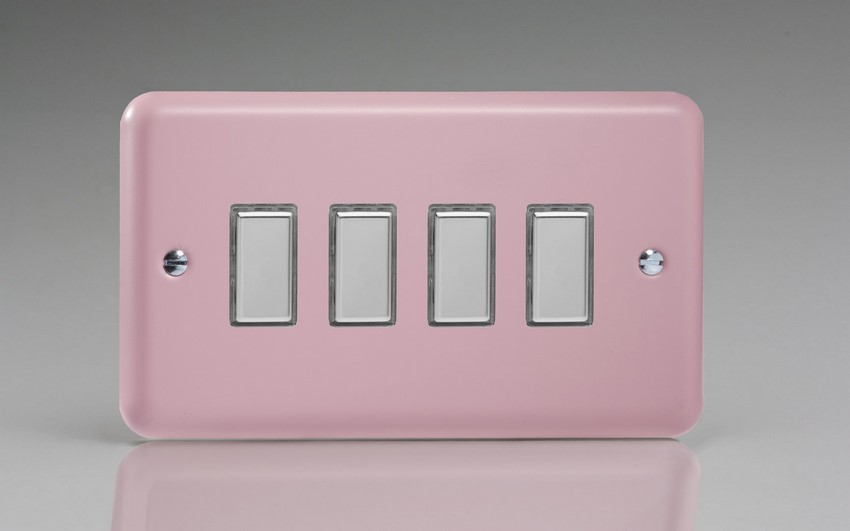 JYES004.RP - Varilight V-Pro Series Eclique2, 4 Gang Tactile Touch Button Slave Unit for 2 way or Multi-way Circuits Only, Classic Lily Rose Pink