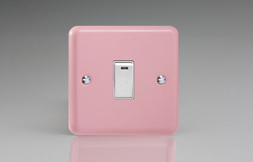 XY20NW.RP Varilight 1 Gang (Single), 20 Amp Double Pole Switch with Neon, Classic Lily Rose Pink