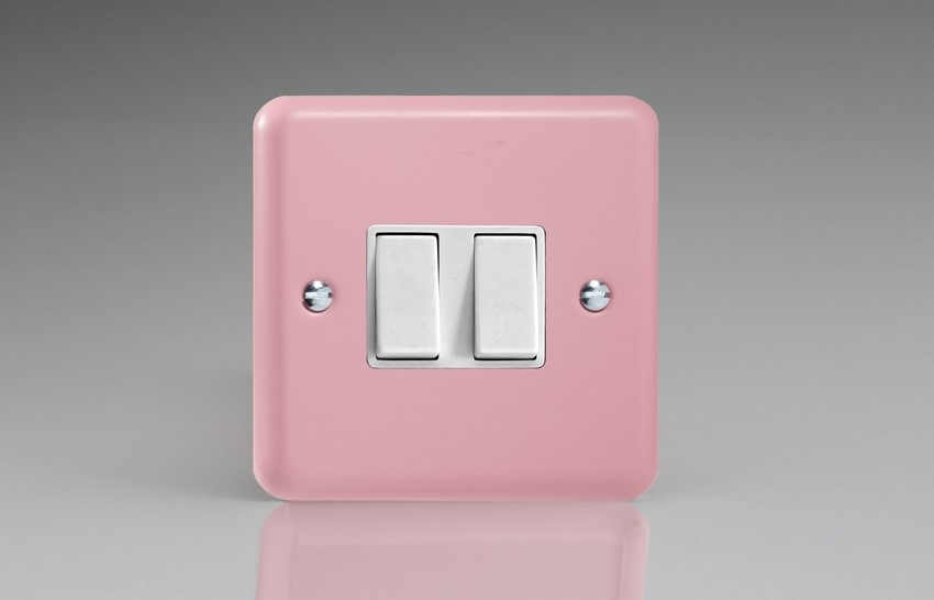 XY2W.RP Varilight 2 Gang (Double), 1 or 2 Way 10 Amp Switch, Classic Lily Rose Pink