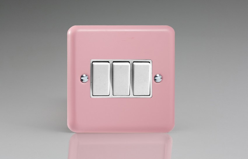 XY3W.RP Varilight 3 Gang (Triple), 1 or 2 Way 10 Amp Switch, Classic Lily Rose Pink