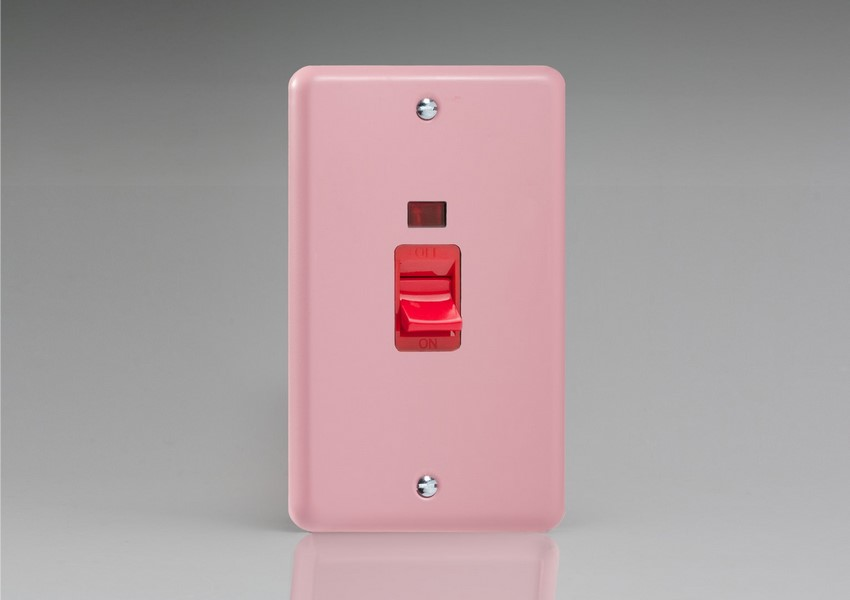XY45N.RP Varilight 45 Amp Cooker Switch with Neon (Vertical Double Size), Classic Lily Rose Pink