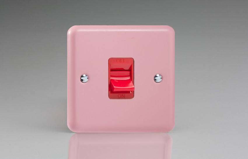 XY45S.RP Varilight 45 Amp Cooker Switch (Single Size), Classic Lily Rose Pink