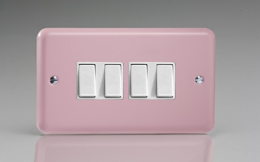 XY9W.RP Varilight 4 Gang (Quad), 1or 2 Way 10 Amp Switch, Classic Lily Rose Pink