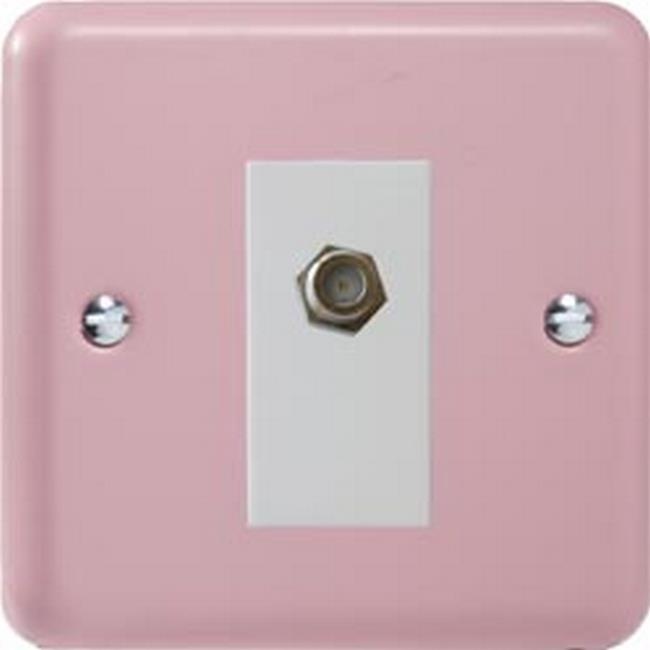 XYG8SW.RP Varilight 1 Gang (Single), Satellite TV Socket, Classic Lily Rose Pink with White insert