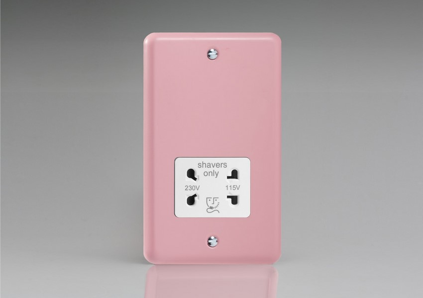 XYSSW.RP Varilight Dual Voltage Shaver Socket, Classic Lily Rose Pink