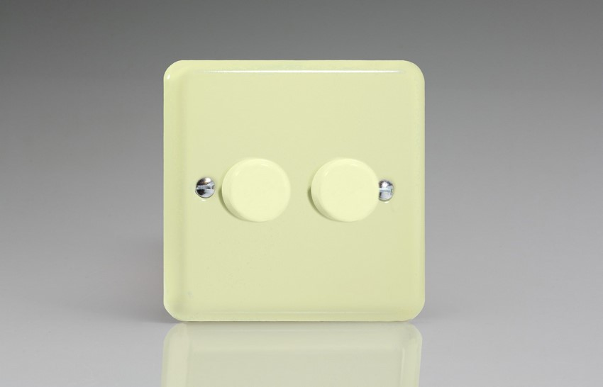 HY83.WC Varilight V-Dim 2 Gang, 1 or 2 Way 2x400 Watt Dimmer, Classic Lily White Chocolate