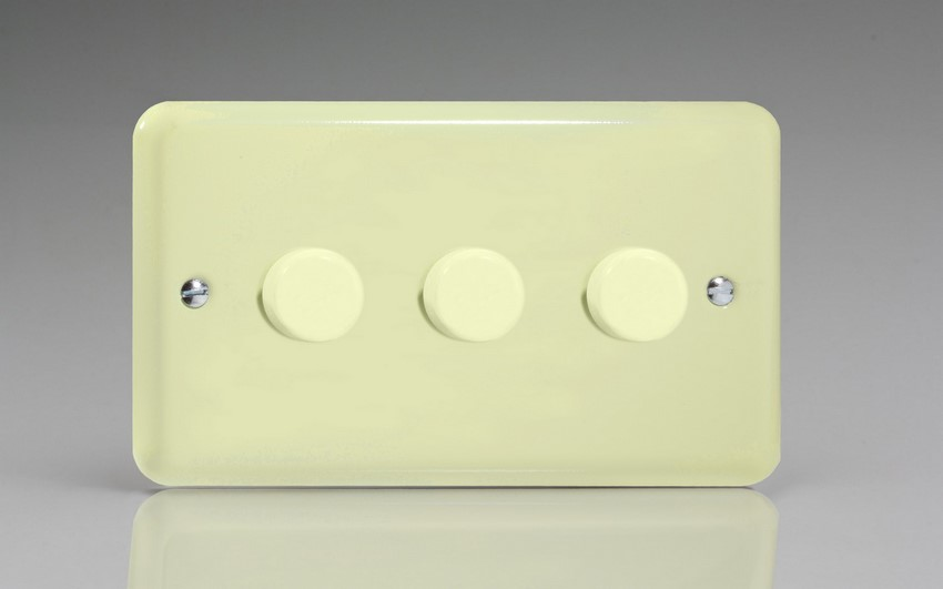 HY33.WC Varilight V-Dim Series 3 Gang, 1 or 2 Way 3x400 Watt Dimmer, Classic Lily White Chocolate