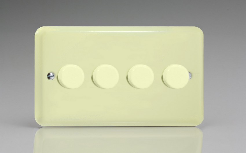 HY44.WC Varilight V-Dim Series 4 Gang, 1 or 2 Way 4 x250 Watt Dimmer, Classic Lily White Chocolate