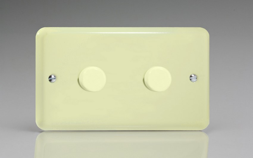 JYDP402.WC Varilight V-Pro Series 2 Gang, 1 or 2 Way, Push-On/Off Rotary LED Dimmer 2 x 0-120W (1-10 LEDs) (Twin Plate), Classic Lily White Chocolate